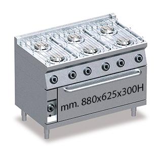 Cucina Professionale Gas 6 Fuochi Con Forno Maxi Ps6fmg 49 Ristotecno Sas